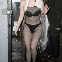 Photos: Lady Gaga wears fishnet bodysuit in frigid New York weather